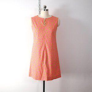 vintage 60s 70s neon floral mini dress mod gogo